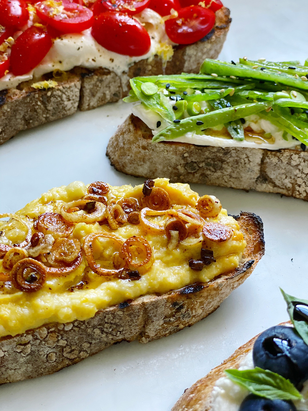Tartine of Sweet Summer Corn with Fried Shallots