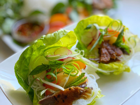 Duck & Rice Noodle Cups with Peaches & Mint