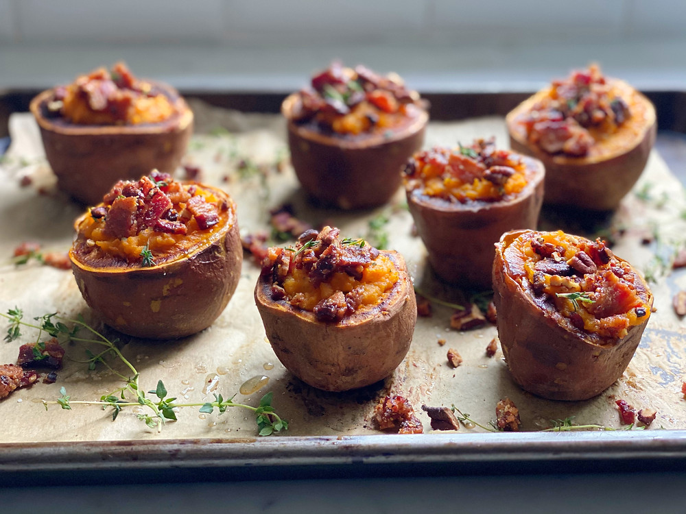 Twice-Baked Sweet Potatoes with a Candied Bacon-Pecan Crumb