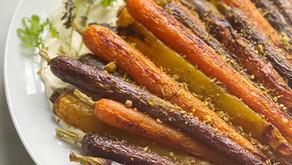Roasted Spring-Dug Carrots with Pistachio Dukkah & Crème Fraîche
