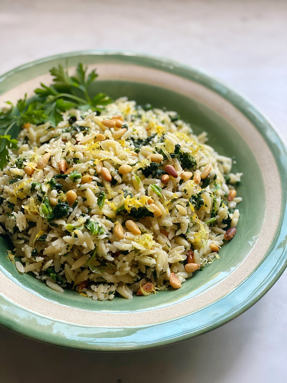 Spinach Orzo with Parmesan & Pignoli