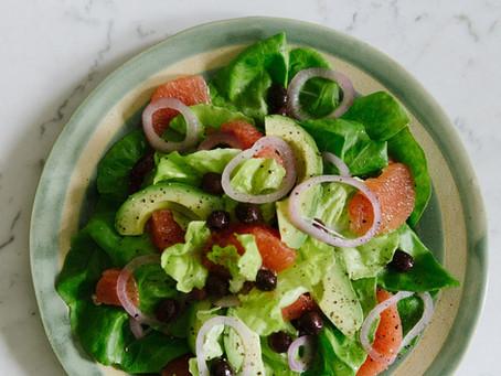 Salad of Avocado, Grapefruit, Red Onion, Black Olive & Bibb Lettuce with Honey Vinaigrette