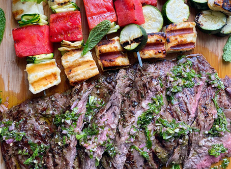 Grilled Skirt Steak  with Mint Chimichurri & Skewers of Watermelon, Zucchini & Halloumi