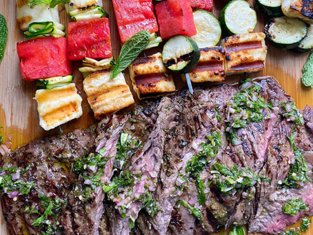 Grilled Skirt Steak  with Mint Chimichurri & Skewers of Watermelon, Zucchini & Halloumi