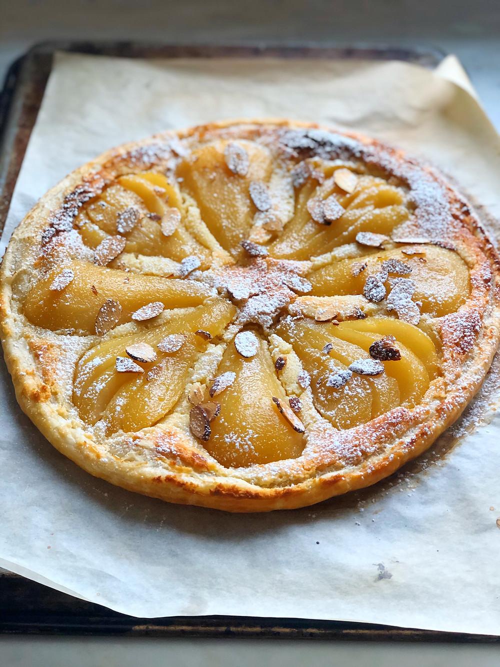 Poached Pear Frangipane Tart