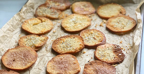 Bagel Chips Three Ways: Everything, Parmesan, & Cinnamon-Sugar