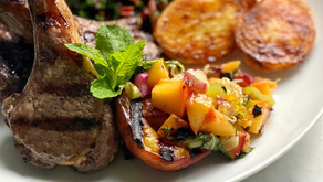 Grilled Lamb Chops with a Peach, Spring Onion & Honeycomb Relish