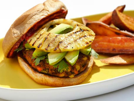 Mexican Veggie Burgers with Grilled Pineapple, Avocado and Jalapeno Ketchup