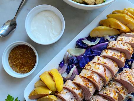 Pork Tenderloin Sheet Pan Dinner with Cabbage & Apples