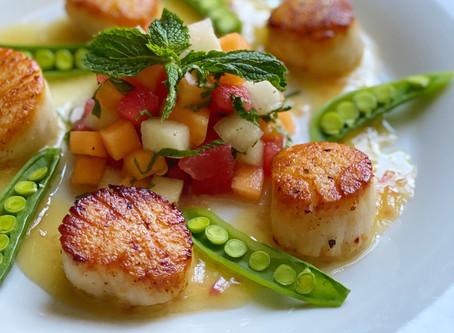 Seared Sea Scallops Beurre Blanc with a Summer Melon Salsa