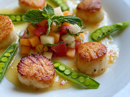 Seared Sea Scallops Beurre Blanc with a Summer Melon Salsa