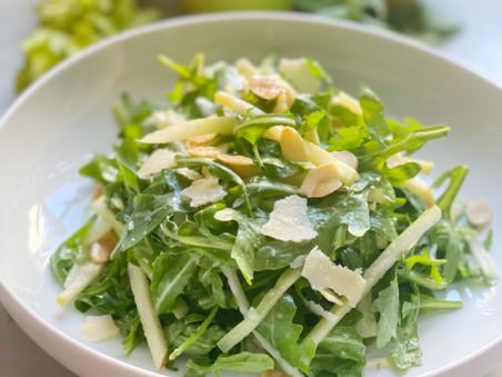 Salad of Baby Arugula, Parmesan, Apples, Celery & Toasted Almonds in a Lemon Vinaigrette