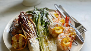 Grilled Caesar Salad with Lemon Shrimp Skewers