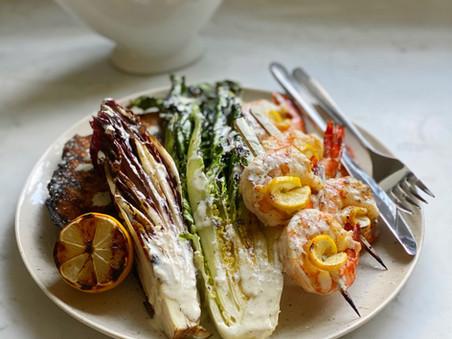 Grilled Caesar Salad with Lemon Shrimp Skewers