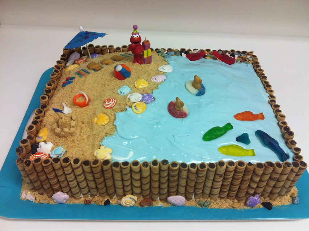 Elmo at the Beach cake
