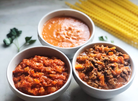 Trio of Pasta Sauces: Marinara, Bolognese, and Parma Rosa