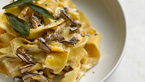 Pappardelle with Shaved Parsnips, Shiitake & Sage Cream