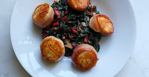Prosciutto-wrapped Sea Scallops with Sautéed Swiss Chard