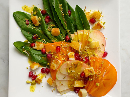 Salad of Persimmon, Apple & Dandelion Greens with Halloumi Croutons and Turmeric-Cider Vinaigrette