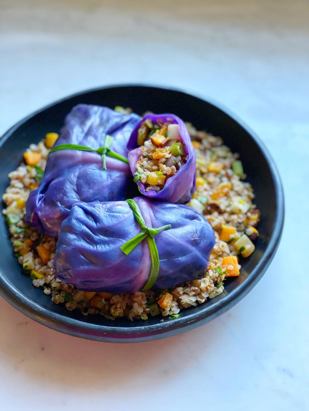 Kasha & Root Vegetable Stuffed Cabbage