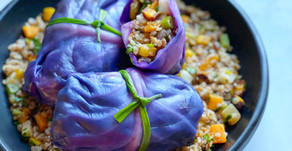 Kasha & Root Vegetable Stuffed Purple Cabbage