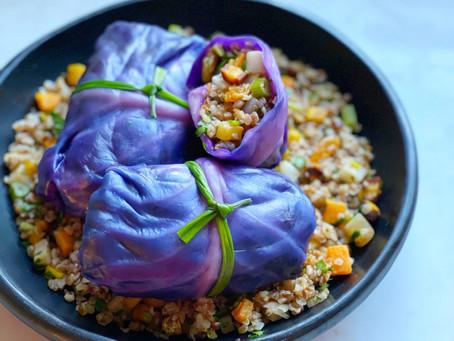 Kasha & Root Vegetable Stuffed Purple Cabbage
