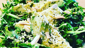 Arugula-Avocado Salad with Almonds, Hemp, & Spring Onion-Meyer Lemon Dressing