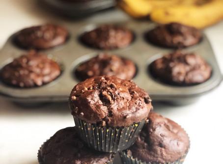 Chocolate Chip Chocolate Banana Muffins