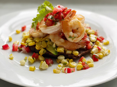 Tequila Shrimp with Lime Butter Corn and Black Bean Cakes