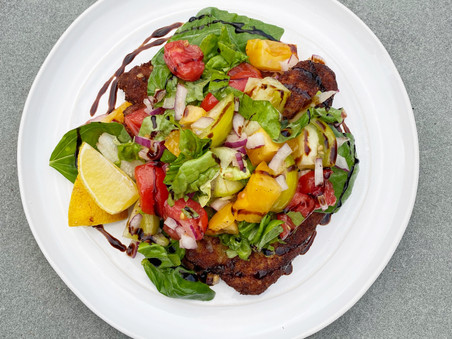 Chicken Milanese with Summer Heirloom Tomato Salad