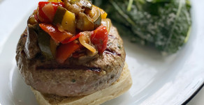 Chèvre-Stuffed Lamb Burgers with Ratatouille