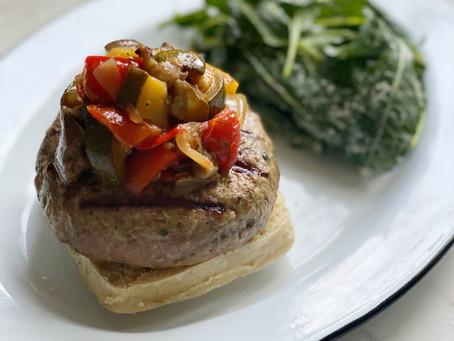 Chèvre-Stuffed Lamb Burgers with Ratatouille