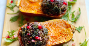 Stuffed Honeynut Squash with Lamb, Dates & Carrot Top Pesto