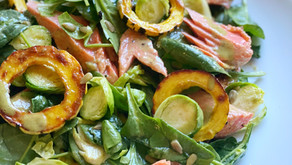 Baby Spinach Salad of Salmon, Delicata & Brussels Sprouts with Maple-Sage Vinaigrette