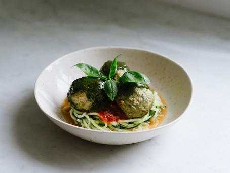 Pesto Turkey Meatballs with Zoodles