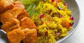 Turmeric Arctic Char Kebabs with Kumquat & Pomegranate Couscous