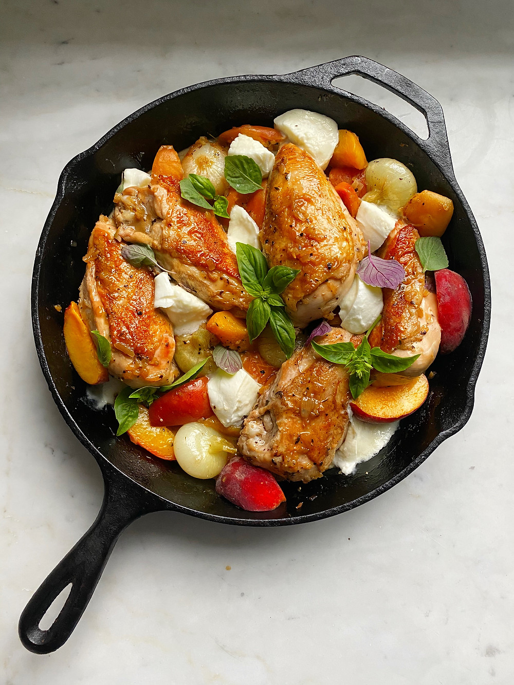 Skillet Chicken Breasts with Peaches & Burrata