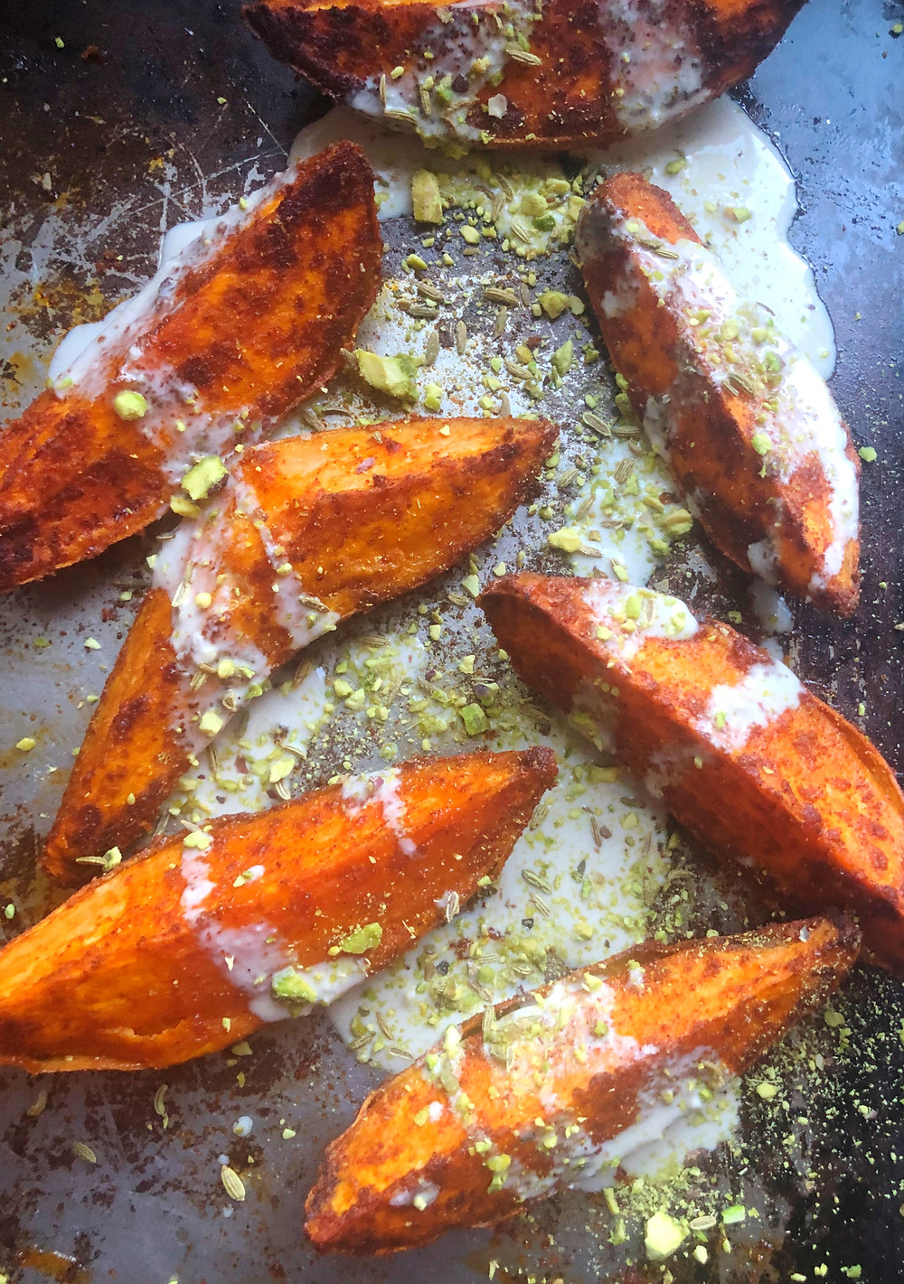 Roasted Sweet Potatoes with Pistachio Dukkah & Tahini