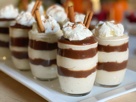 Egg Nog Cheesecake Parfaits with Cold Hot Fudge