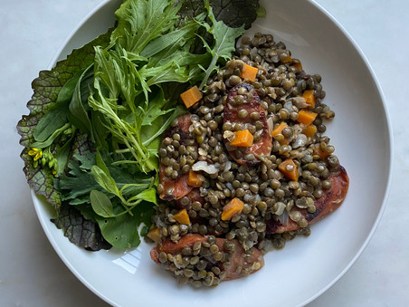 Smoked Duck Sausage with Warm French Lentil Salad