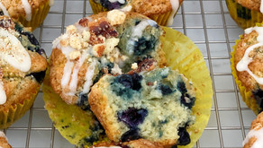 Blueberry Muffins with Maple Glaze and Bacon Streusel