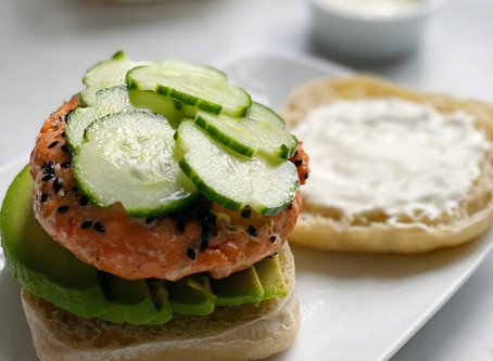 Poke Salmon Burgers with Pickled Cucumbers, Avocado & Ginger Mayo