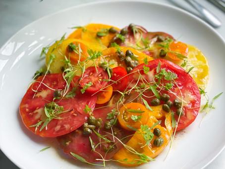 Heirloom Tomatoes with Caper-Beurre Noisette Vinaigrette