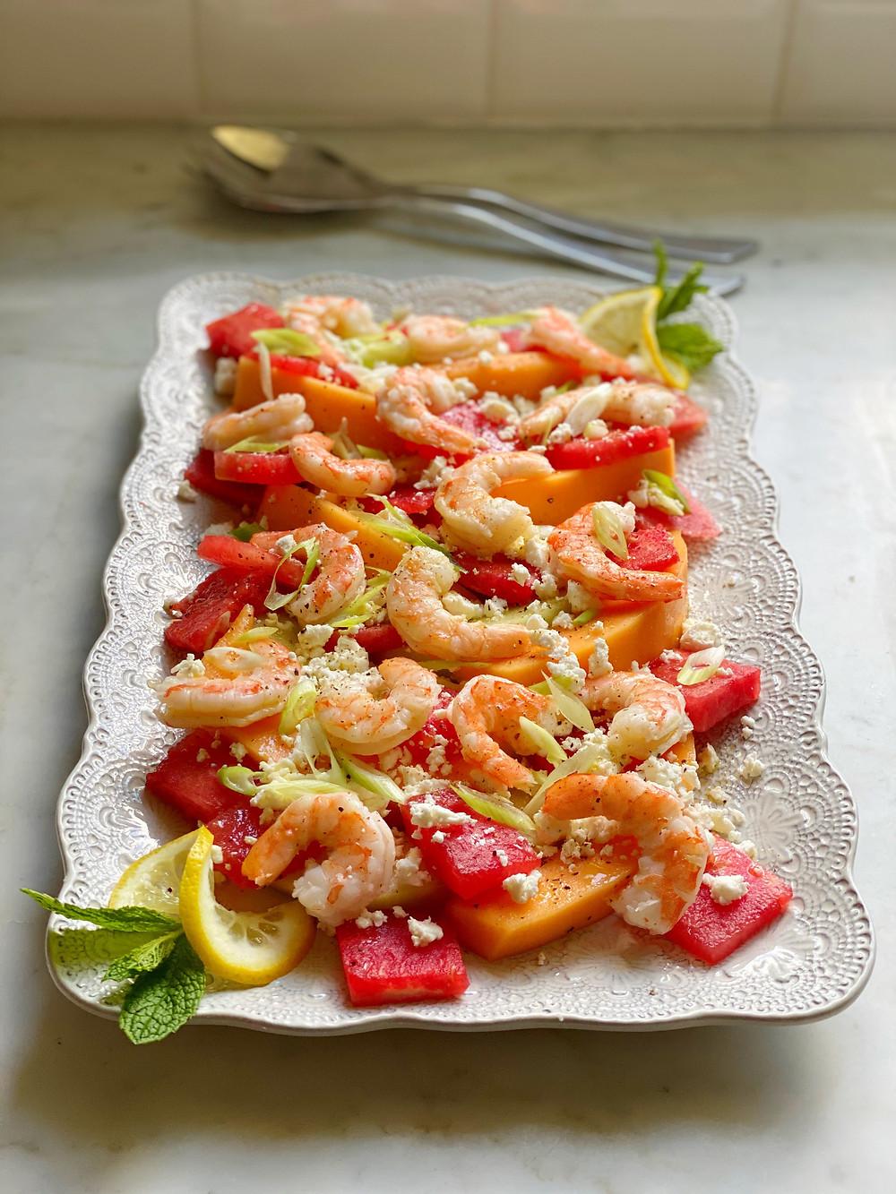 Poached Shrimp with Summer Melon & Feta