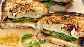"Eggplant, Smoked Mozzarella & Honey Comb ""Grilled"" Cheese"