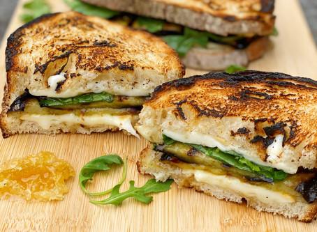 "Eggplant, Smoked Mozzarella & Honey Comb ""Grilled"" Cheese"
