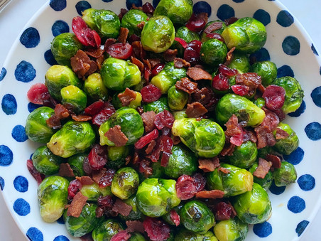 Baby Brussels Sprouts with Maple, Bacon & Cranberries