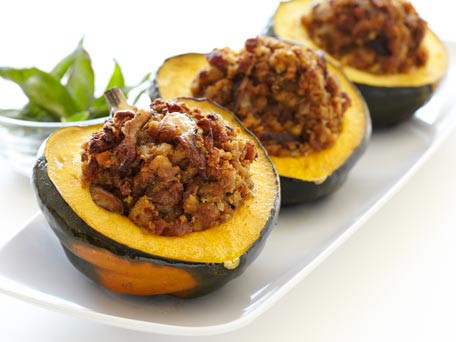 Stuffed Maple Acorn Squash with Sausage and Shitakes