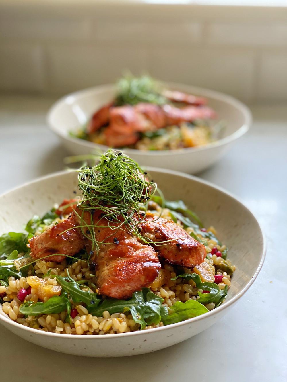 Seared Sockeye Salmon on Wheat Berry Salad