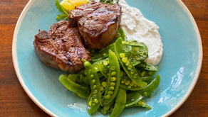 Grilled Lamb Chops with Herbed Yogurt & Sugar Snap Pea Salad